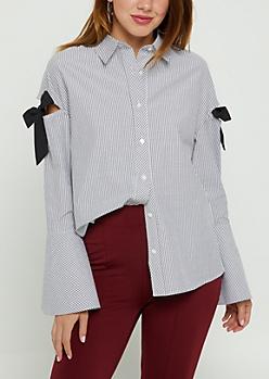 Striped Tie Shoulder Blouse