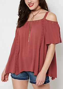 Dark Pink Crochet Cold Shoulder Top