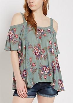 Floral Crochet Cold Shoulder Top