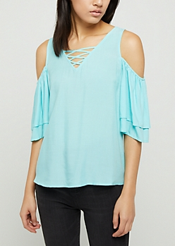 Mint Cold Shoulder Lattice Top