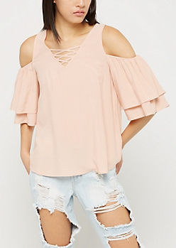 Pink Cold Shoulder Lattice Top