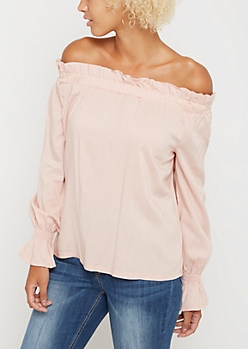 Pink Challis Smocked Off Shoulder Shirt