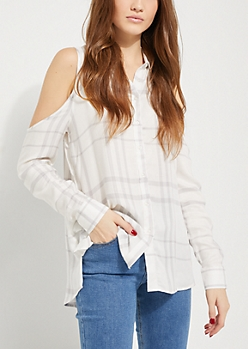 White Plaid Cold Shoulder Button Down