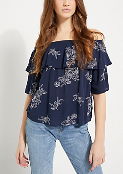 Rose Stitched Flounce Off Shoulder Top