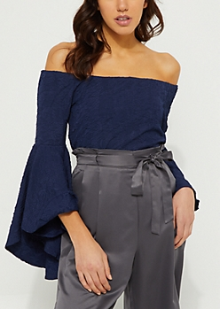 Navy Off Shoulder Crinkled Blouse