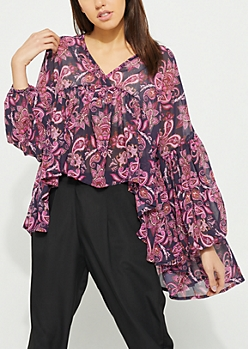 Ruffled High Low Paisley Blouse