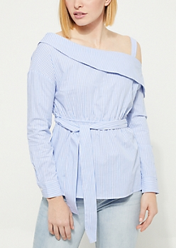 Blue Striped Flounce Off Shoulder Shirt