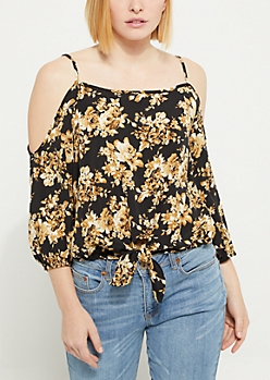 Tie Front Cold Shoulder Blouse