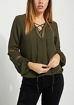 Lace Up Olive Blouse