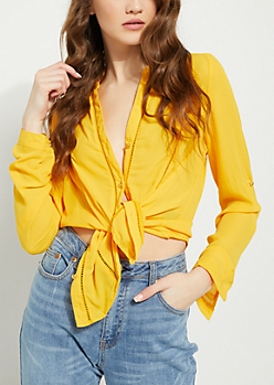 Mustard Eyelet Embroidery Blouse