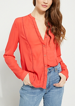 Pink Eyelet Embroidery Blouse