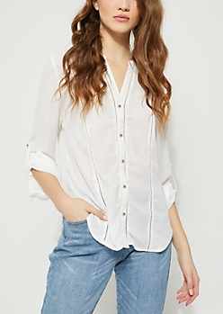 White Eyelet Embroidery Blouse