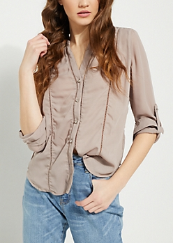 Taupe Eyelet Embroidery Blouse
