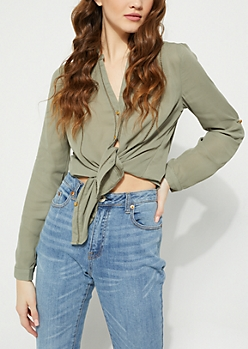 Olive Eyelet Embroidery Blouse