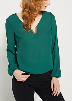 Teal Long Sleeve V Neck Blouse