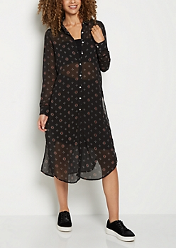 Black Medallion Long Length  Shirt