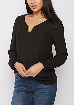 Black Metallic V Neck Chiffon Shirt