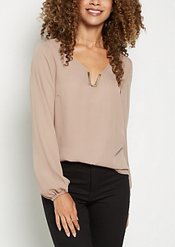Taupe Metallic V Neck Chiffon Shirt