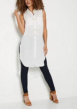 Ivory Long Length Button Down Shirt