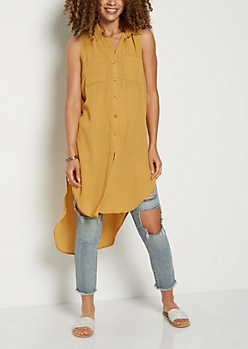 Mustard Long Length Button Down Shirt