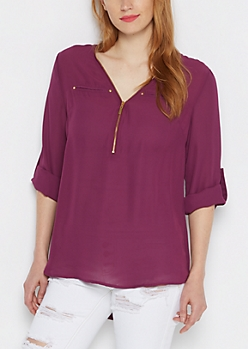 Purple Zip-Yoke Blouse