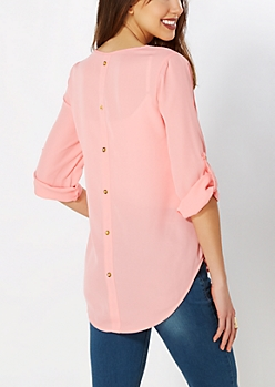 Coral Back Buttoned Popover