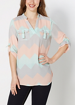 Chevron Buckled Pocket Mandarin Popover
