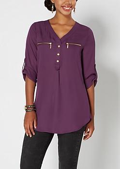 Purple Chiffon Zip Pocket Popover