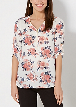 Spring Rose Zipped Popover Top