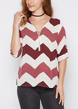 Burgundy Chevron Zip Yoke Blouse