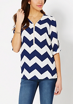 Navy Chevron Zipped Popover Top