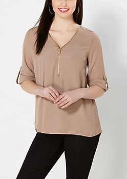 Taupe Zipped Popover Top