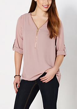 Light Purple Zipped Popover Top