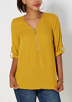 Mustard Zipped Popover Top