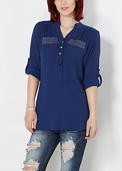 Navy Studded Pocket Blouse