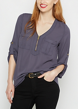 Navy Military Chiffon Blouse