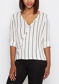Black Striped Surplice Blouse