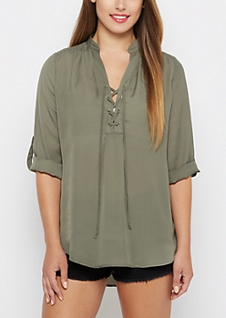 Olive Lace-Up Chiffon Popover Blouse