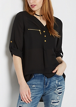 Black Chiffon Zip Pocket Popover Blouse