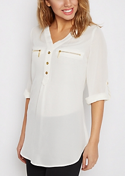 Ivory Chiffon Zip Pocket Popover Blouse
