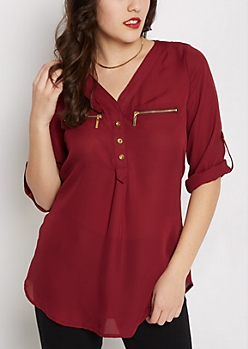 Burgundy Chiffon Zip Pocket Popover Blouse