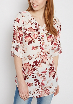 Wildflower Georgette Chiffon Popover Blouse