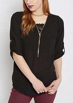 Black Chiffon Zip-Yoke Popover Blouse