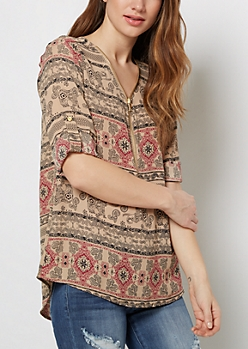 Bohemian March Heavy Zip Popover Blouse