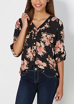 Pink Bouquet Popover Blouse