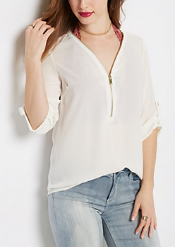 Ivory Zipped Neckline Blouse