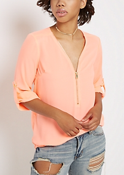Neon Coral Zipped Neckline Blouse