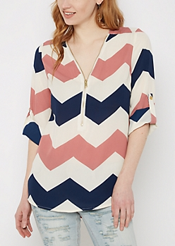 Chevron Zipped Neckline Blouse