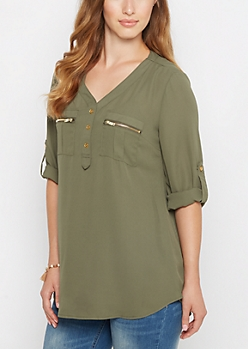 Olive Button Down Military Blouse