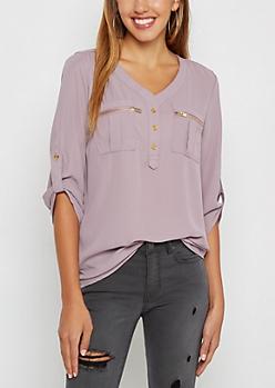 Lavender Button Down Military Blouse